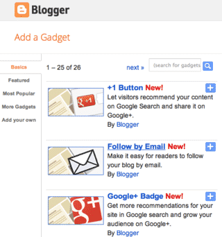 NEW! Google Plus Gadgets in Blogger